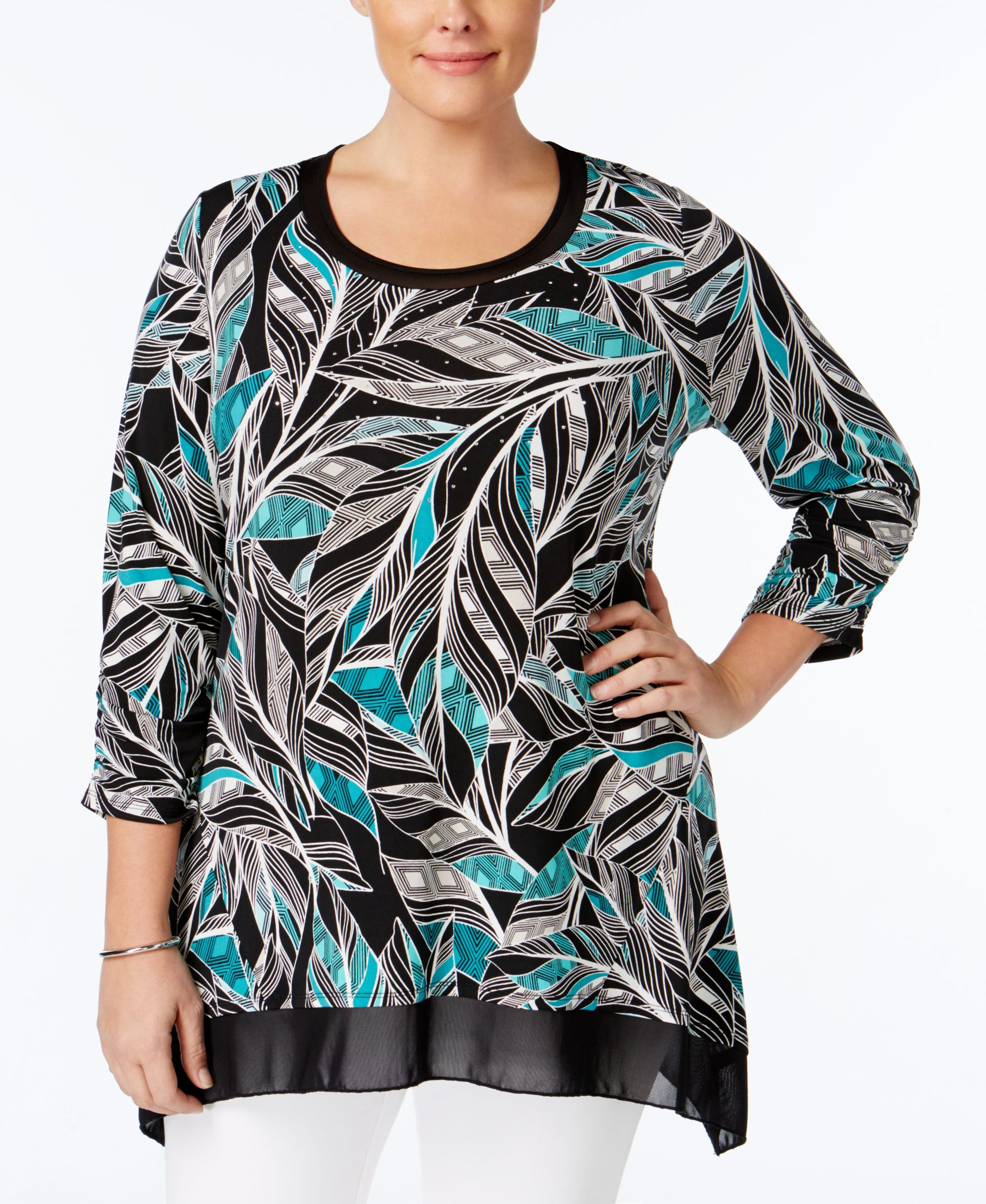 Jm Collection Plus Size Printed Embellished Handkerchief-Hem Top, Only at Macy's