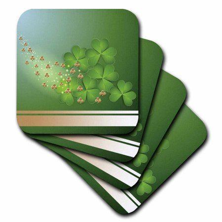 3dRose Beautiful Green and Gold Shamrock, Ceramic Tile Coasters, set of 4