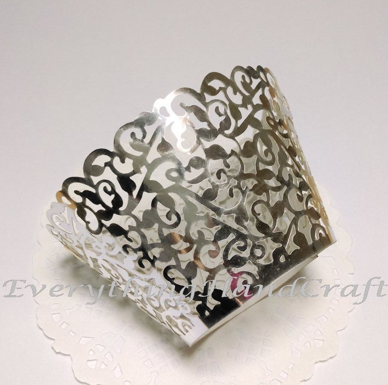 Decoration Party Baby Shower Birthday Thanksgiving White Pearly Elegant  Filigree Cupcake Wrappers Wedding Cupcake Liners 12pcs