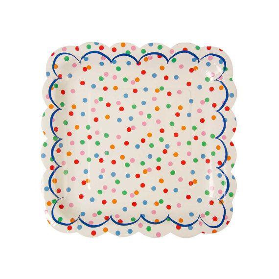 Polka dot paper plates with scalloped edges. Set of 12. Rainbow party paper SMALL plates. Circus party paper plates. Spotted DESSERT plate.  sc 1 st  Pinterest & Polka dot paper plates with scalloped edges. Set of 12. Rainbow ...