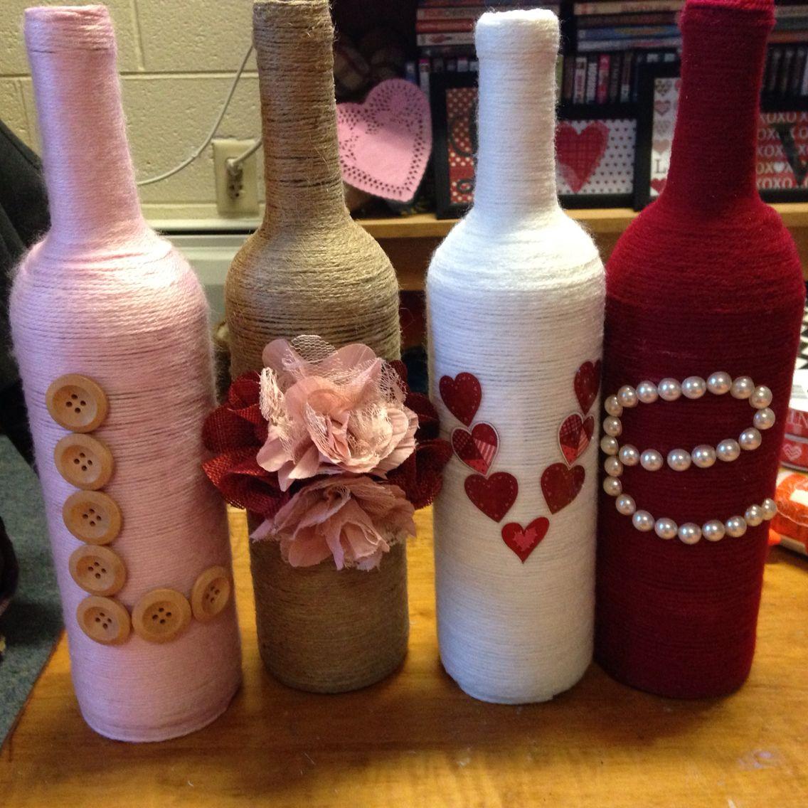 Valentines Day Wine Bottles Diy Valentines Decorations Wine Bottle Diy Crafts Bottle Crafts