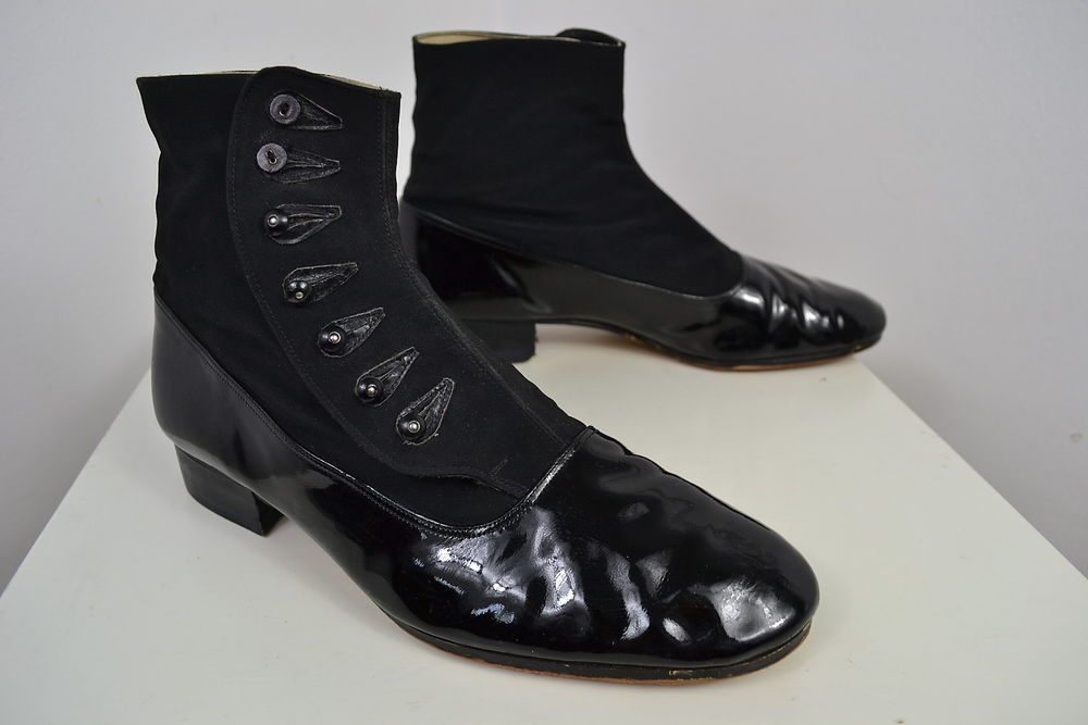 Vintage 1920 S Black Patent Leather English Made Chelsea Boots Uk