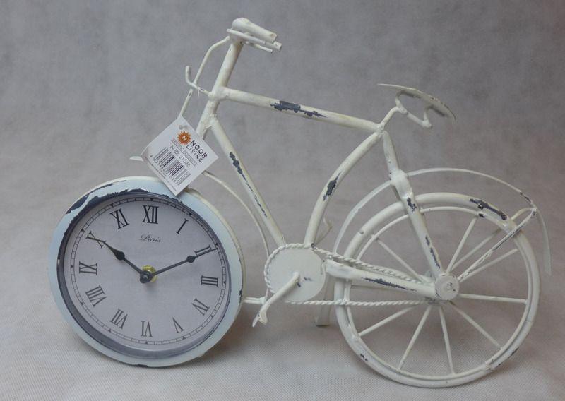 Deko fahrrad mit uhr im vorderrad wei von colmado for Deko geschenke shop
