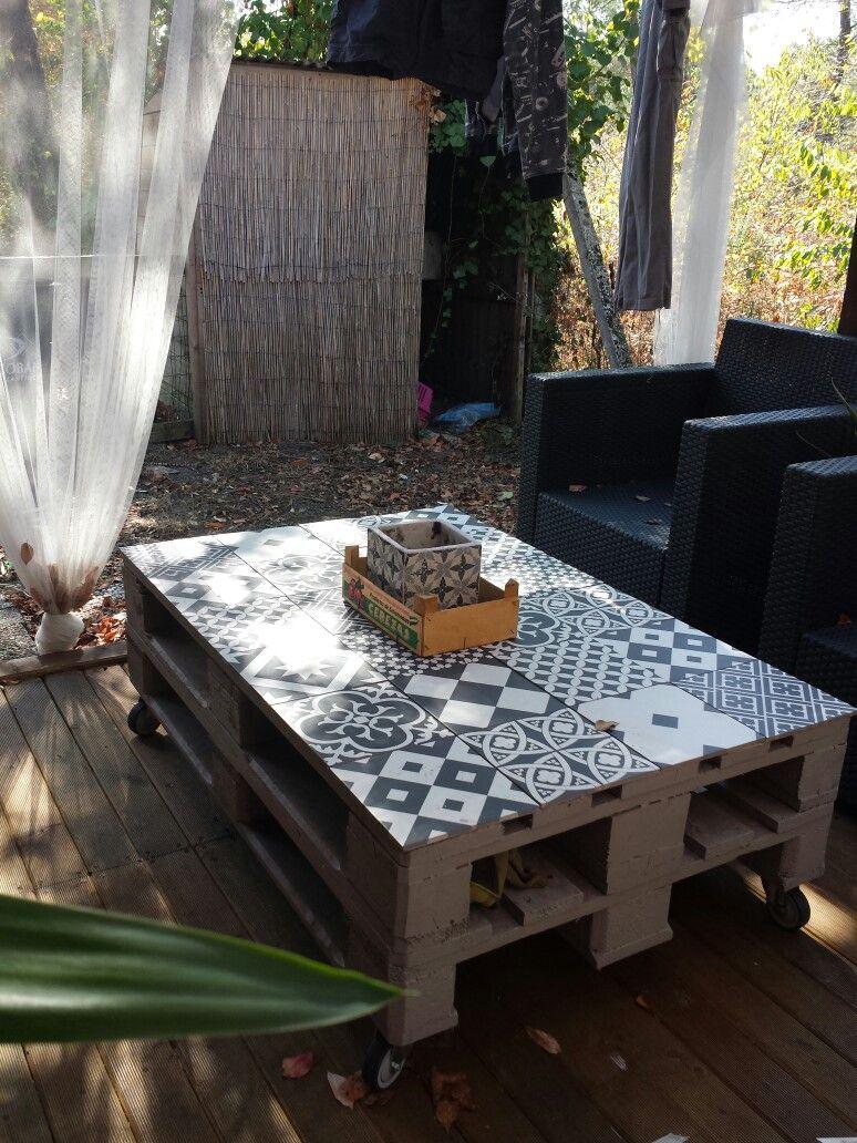 Ma Table Basse Palette Carreaux De Ciment Table Basse Palette
