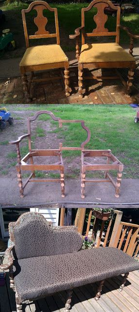 Chaise Longue Yes That Is The Correct Spelling It S French For Long Chair From Two Old Chairs Redo Furniture Diy Furniture Recycled Furniture