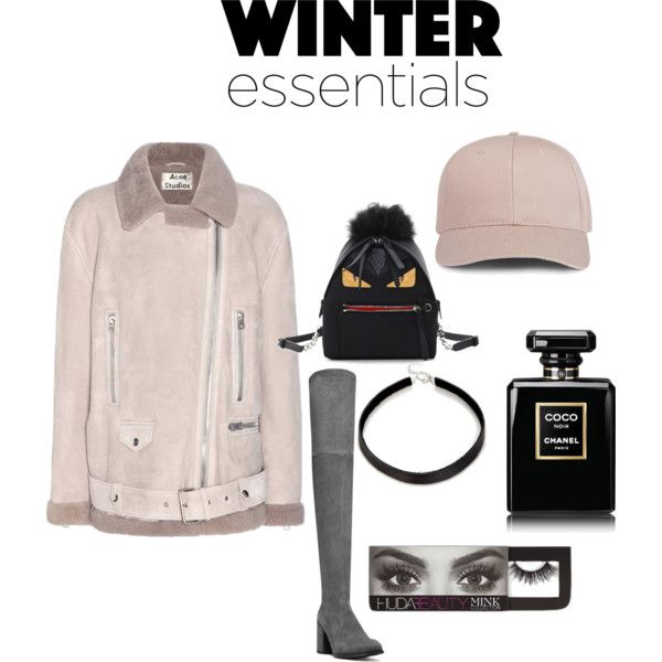 Winter Essential by manon-bdm on Polyvore featuring mode, Acne Studios, Stuart Weitzman, Fendi, Huda Beauty and winteressentials