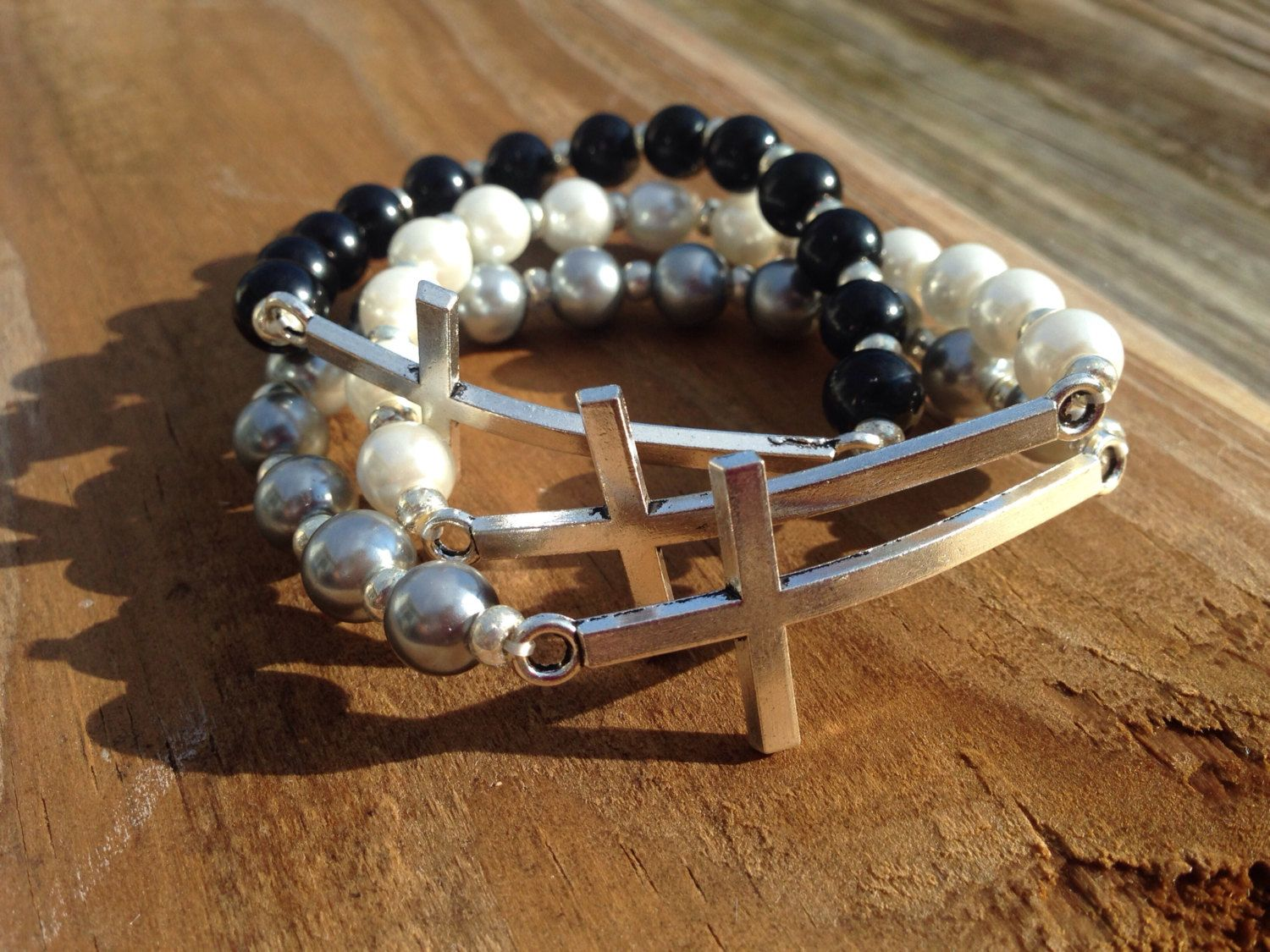 Silver cross stretch bracelet - white, black or grey pearl beads with silver spacers - fits most wrist sizes - custom fits available  by MandisMakings on Etsy