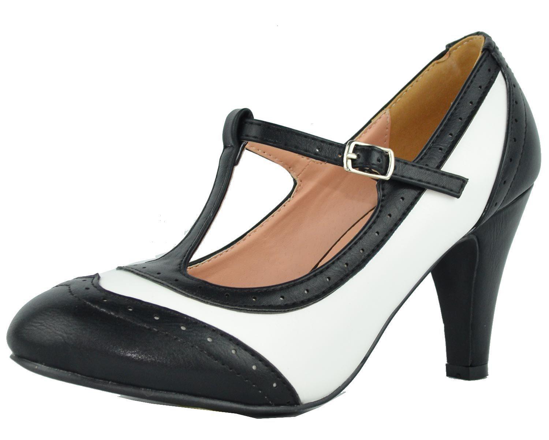 ae428c91fe Amazon.com   Cambridge Select Women's T-Strap Wingtip Style Cut Out Mid  Heel Dress Pump, 5.5 M US, Black/White   Pumps   50's shoes in 2019   T  strap, Dress ...