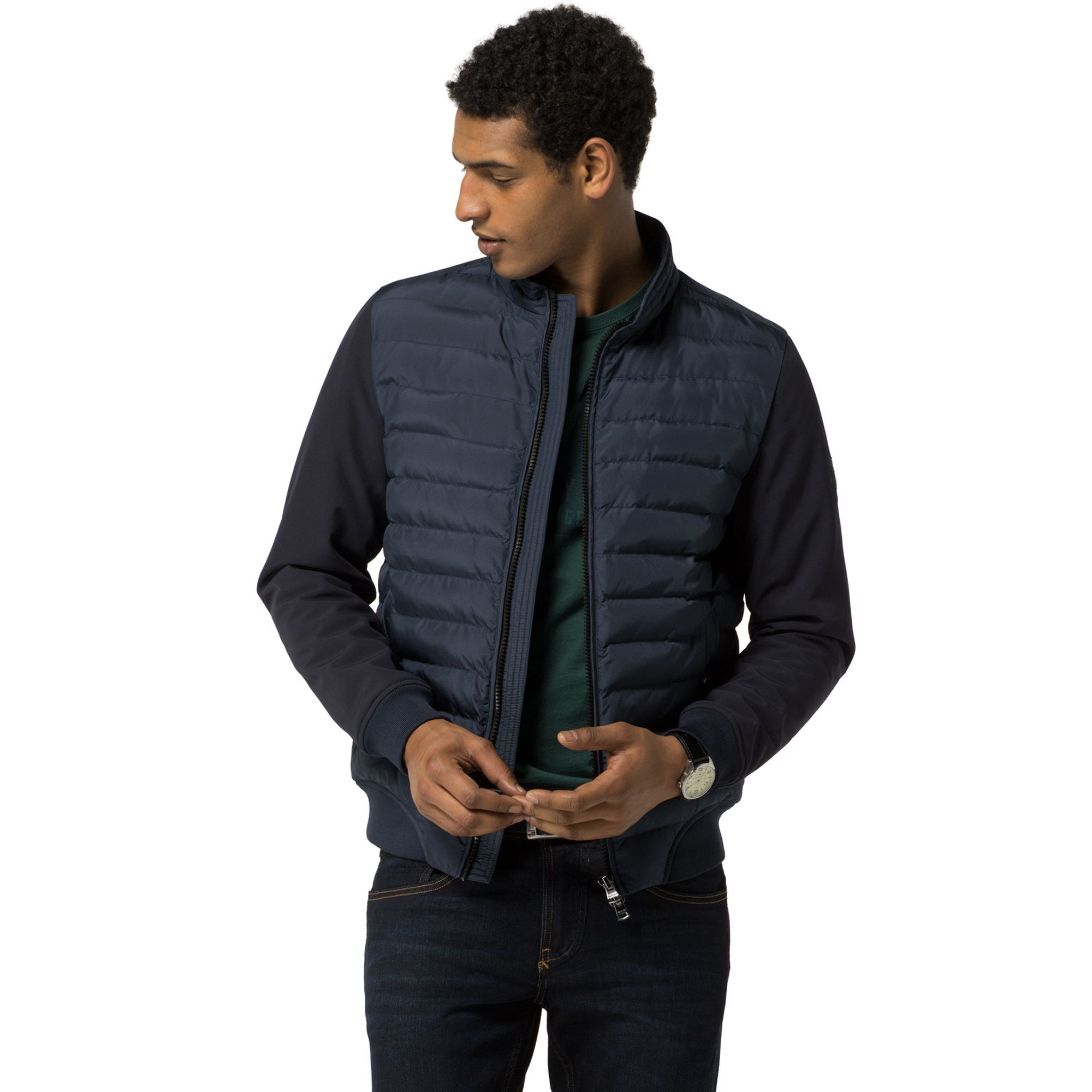 Channeled Bomber Jacket Black Iris Black bomber jacket