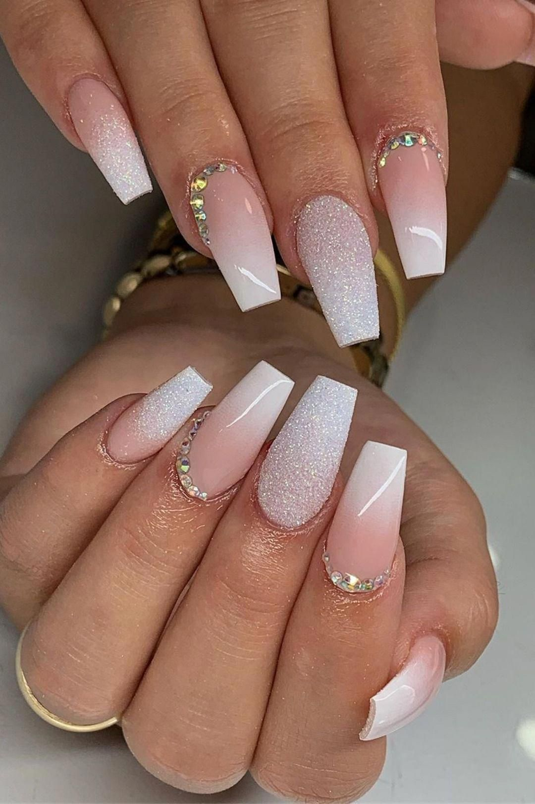 So Cute French Ombre Dip Nails Coffin Shaped With Glitter And Rhinestones Ombrenails In 2020 Ombre Nails Glitter Long Acrylic Nails Fake Nails