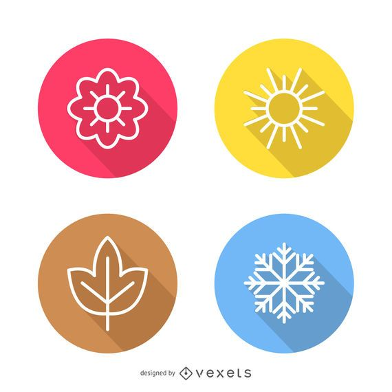 Set Of Flat Icons Featuring All Four Seasons Summer Autumn