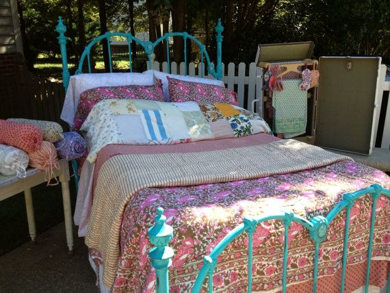 Painted Vintage Metal Bed Full Size By Glovelostandfound