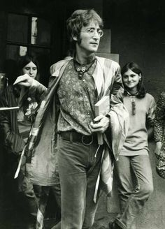 John Lennon Singer with the Group The Beatles leaves the International Meditation Society Meeting at Normal College Bangor After attending his Holiness Maharishi Mahesh Yogi practising his theory of Transcendental Meditation. Sep 67.