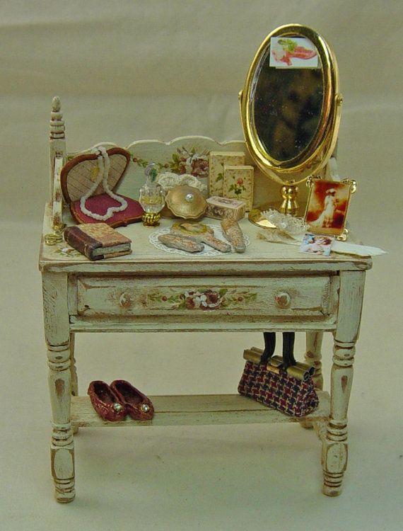 Dolls House Miniature wooden handpainted Antique Cream Ladies Filled Washstand.