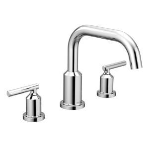 Moen Gibson 2 Handle Deck Mount Roman Tub Faucet Trim Kit In Chrome Valve Not Included T961 The Home Depot Roman Tub Faucets Tub Faucet Roman Tub
