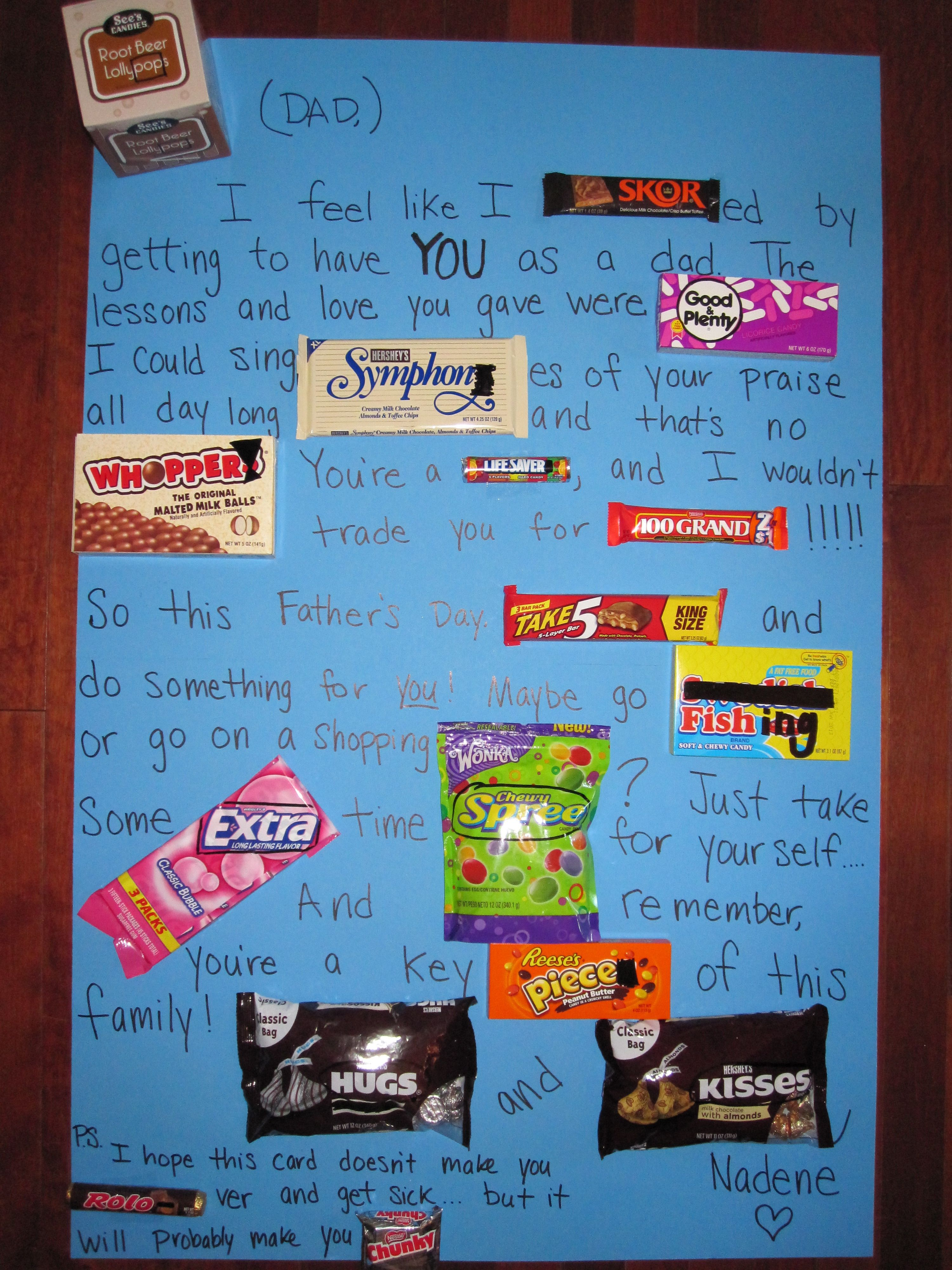 candy card that I made my dad for Father s Day IM making this for