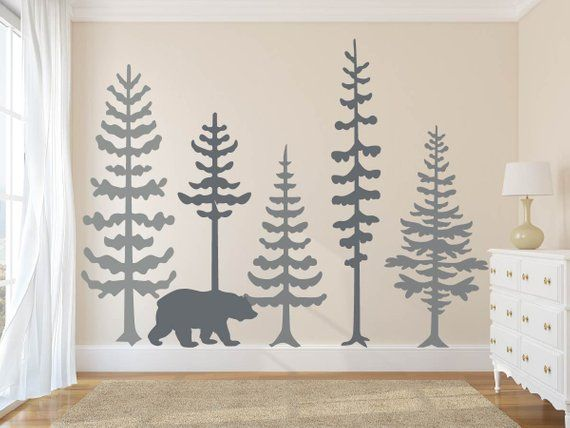 pine tree forest wall decals, tree wall decals, forest mural, forest