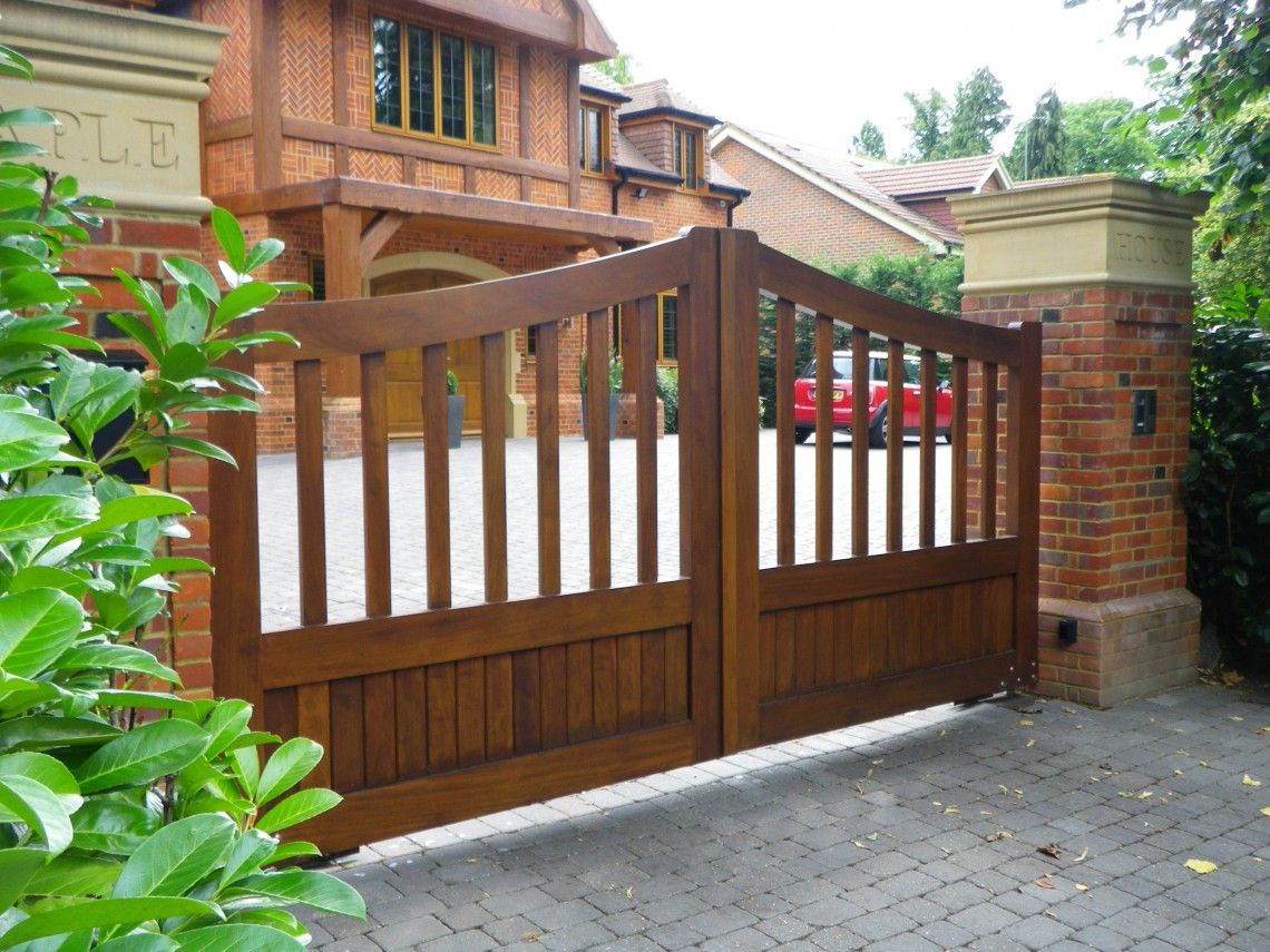 Architecture timber gates electric estate entry