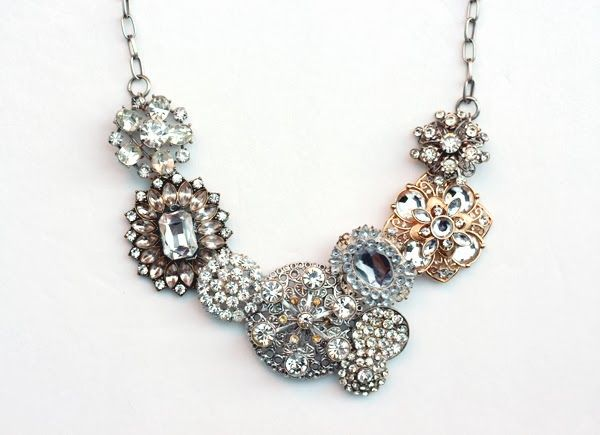 Superior Bromeliad: DIY J. Crew Crystal Flower Lattice Necklace This Is Beautiful!  Finally A Way To Use The Old Brooches, Earrings, And Buttons I Have Lying  Around!