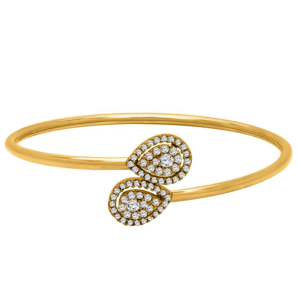 6225d51a6d8 0.75 CT Round Diamond Solid 18K Yellow Gold Pear Shape Cluster Bangle  Bracelet #Omegajewellery #Bangle #EngagementWeddingAnniversaryParties