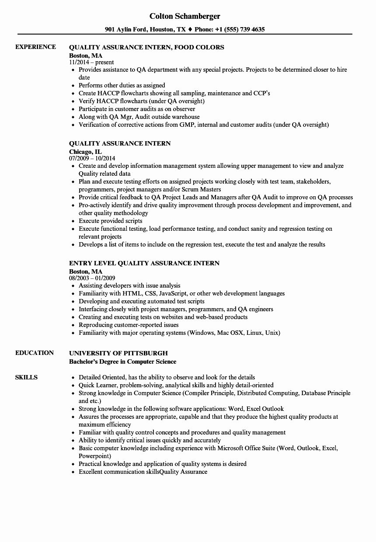 Entry Level Qa Resume Lovely Quality Assurance Intern Resume Samples Resume Examples Job Resume Examples Good Resume Examples