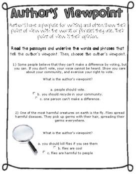 Printables Point Of View Worksheets 3rd Grade author point of view worksheets davezan 1000 images about purpose file on pinterest easy a identifying worksheet