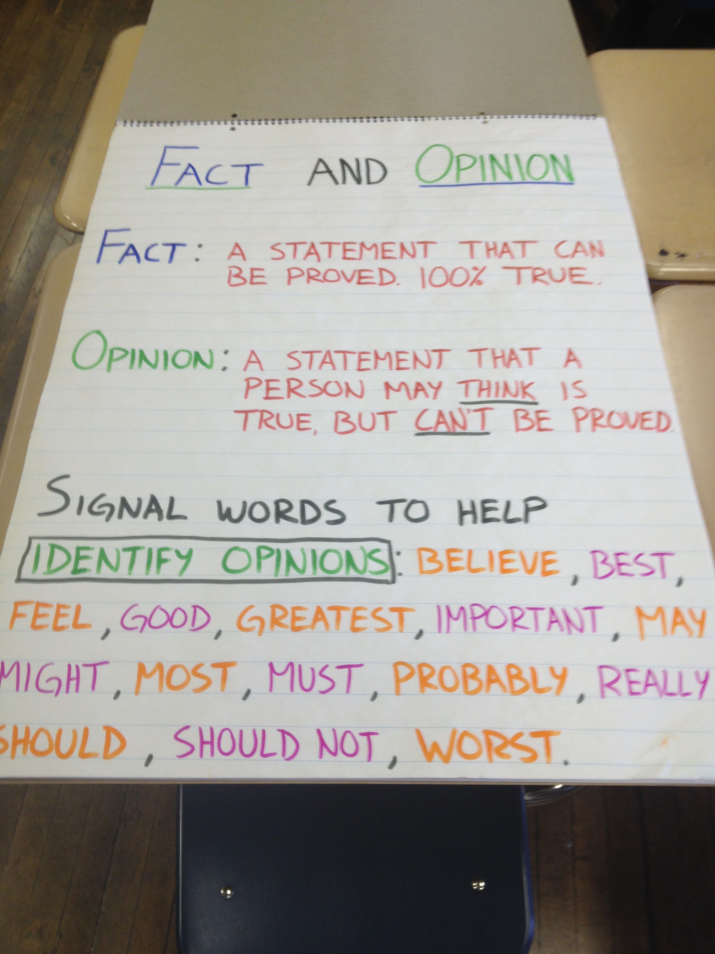 hight resolution of Fact and opinion chart with signal words.   Fact and opinion