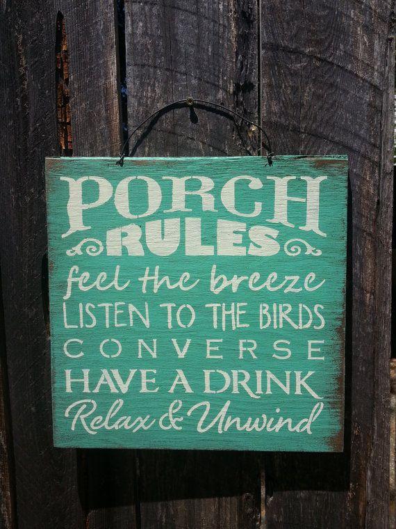 Porch Rules, porch sign, porch decor, patio decor, outdoor living ...