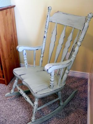 Little Bit of Paint: My Mother's Rocking Chair with homemade chalk paint, distressing with electric sander and Valspar's Antiquing Glaze