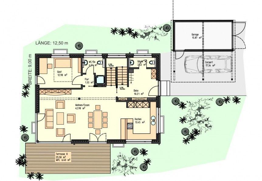 Holzhaus bungalow grundriss  Grundriss EG | Haus | Pinterest | Grundrisse, Holzhäuschen und ...
