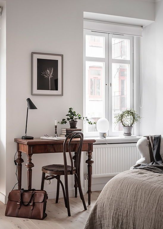 Vintage pieces in a white home
