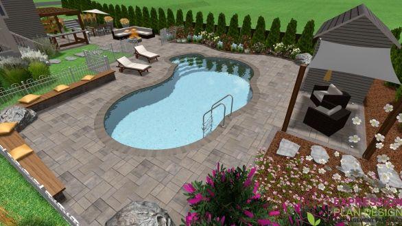 Aménagement d\'une piscine creusé. #piscine #amenagement #exterieur ...