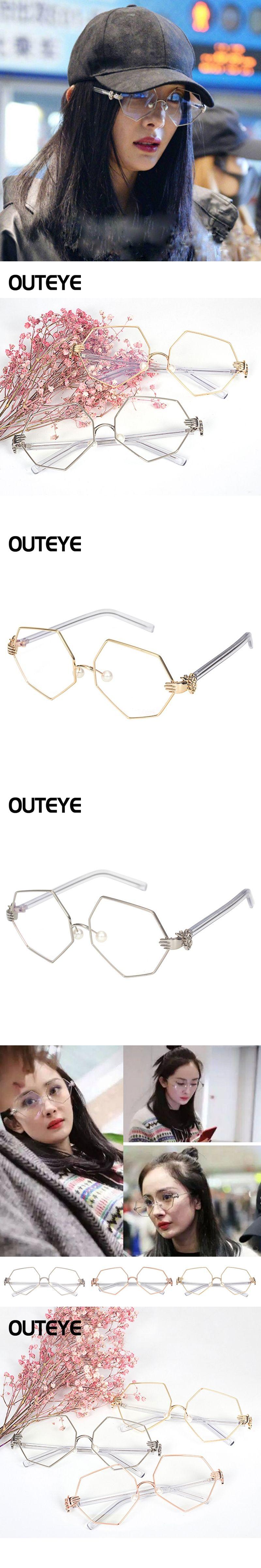 fd907f041ba OUTEYE Vintage Hexagon Square Women Eye Glasses frames Plain Mirror Clear  Lens Harajuku big Metal frame