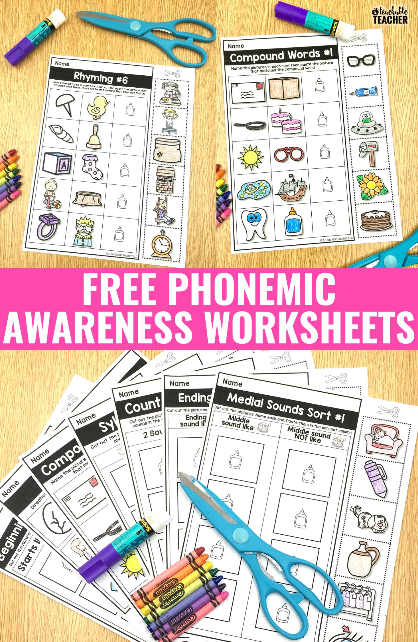 FREE Phonemic Awareness Worksheets - Interactive and Picture-Based   Phonemic  awareness [ 2249 x 1466 Pixel ]