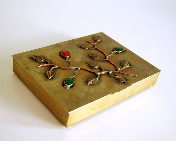 1920s Brass Cigarette Box China Trinket Jewelry by CalloohCallay