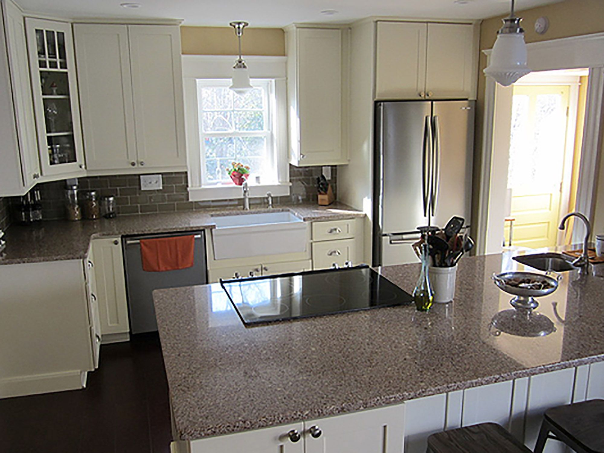 The clean-up zone in this Indiana kitchen features a white porcelain ...