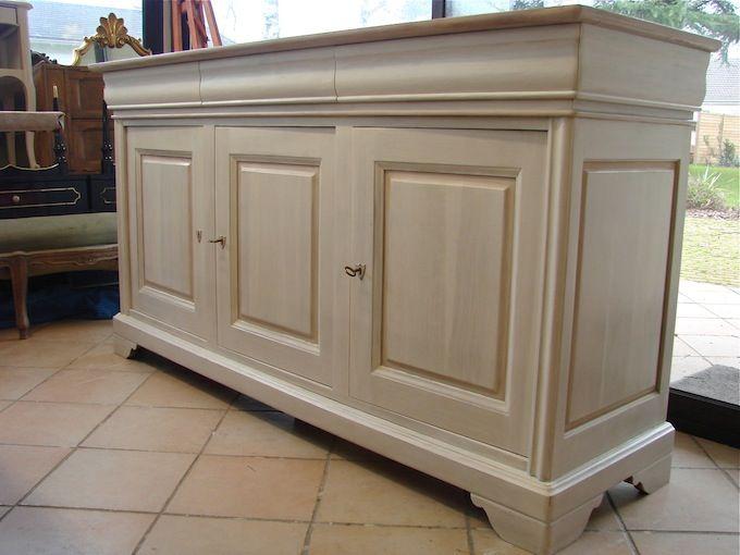Enfilade merisier lin et rose poudr enti rement relook e par l 39 atelier de dame patine d co - Patiner un meuble en merisier ...