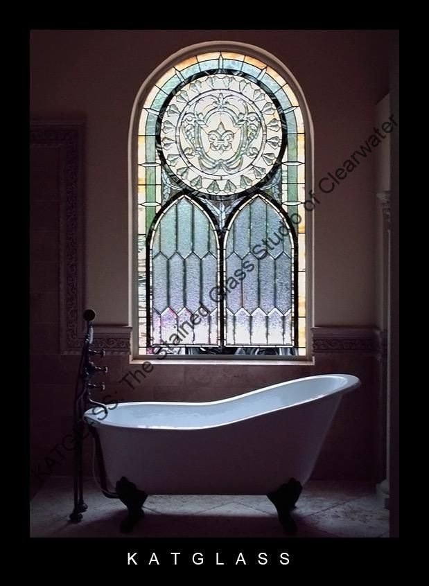 Stained Glass Bathroom Window KATGLASS: The Stained Glass Studio Of  Clearwater, Florida