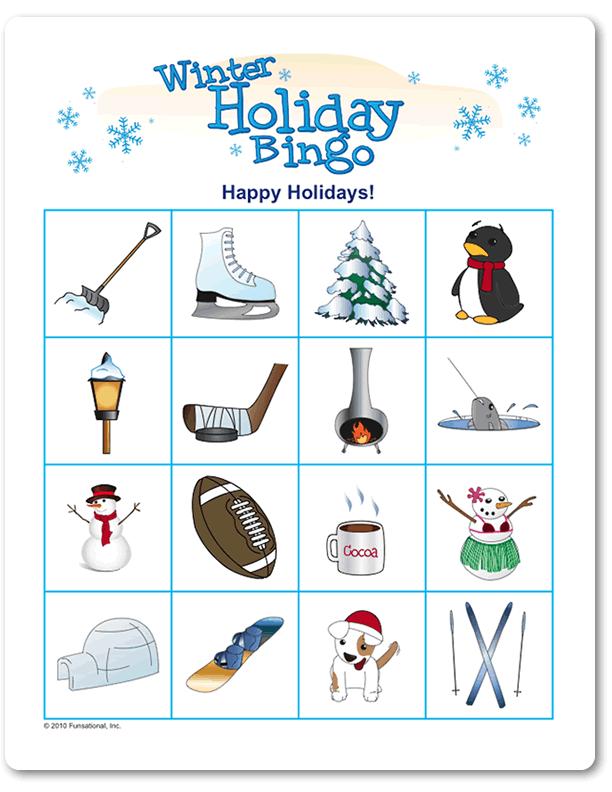 printable winter holiday picture bingo classroom christmas bingo christmas party games. Black Bedroom Furniture Sets. Home Design Ideas