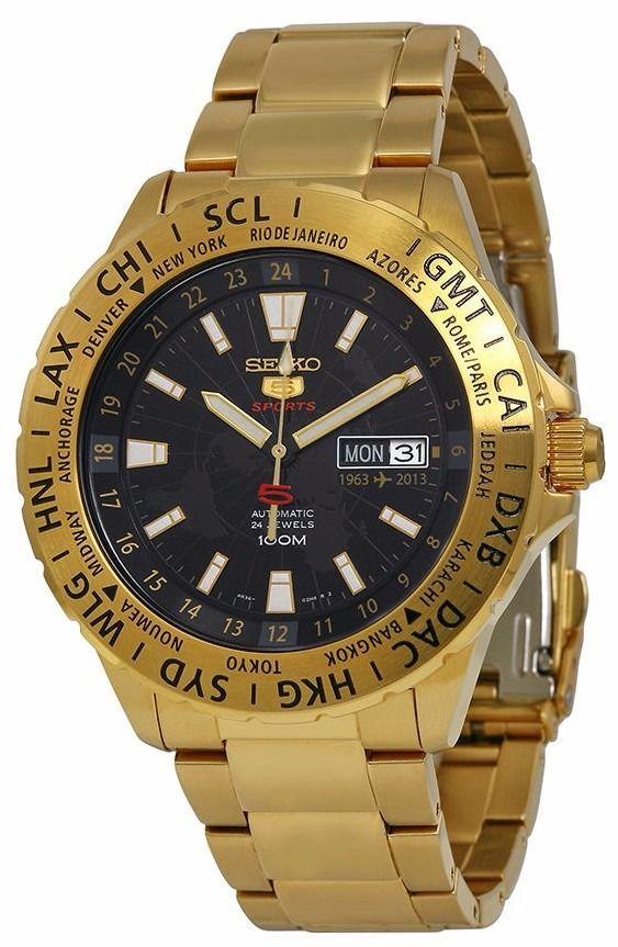 5626500f7330 Reloj Seiko 5 Sports Análogo Dorado Automático Srp440