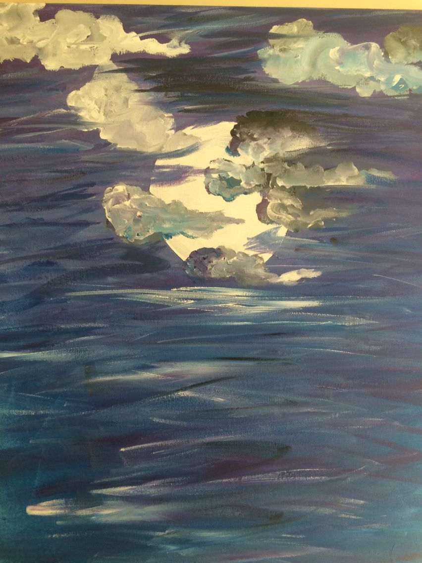Moonlight on the ocean painting