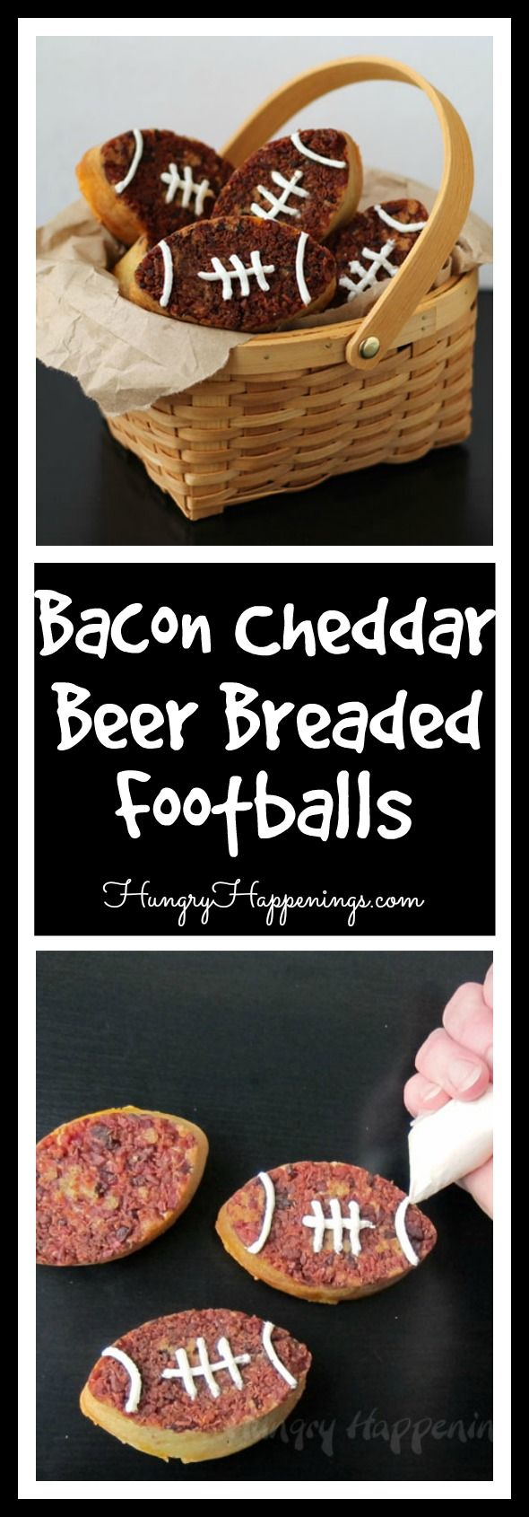 You've heard of a bread basket. But I don't think you've ever heard of one filled with Bacon Cheddar Beer Bread Footballs! Like come on, what isn't there to like in these delicious grains.