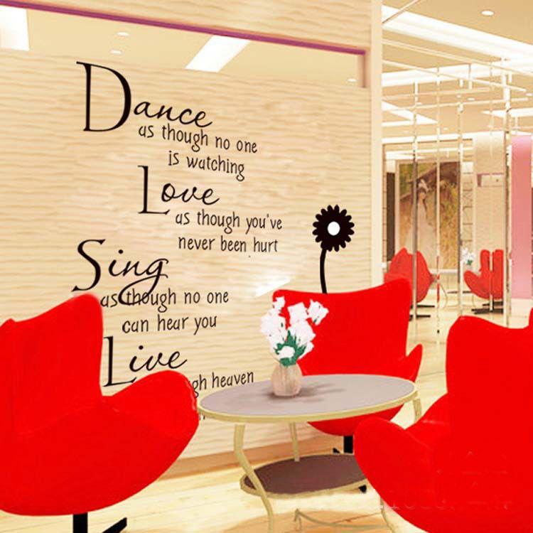 Barato Palavra dança e amor citação Room Decor Art removível Decal ...