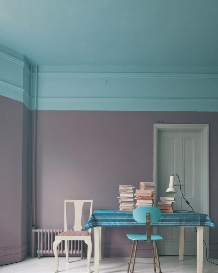 decoracion vintage, pinturas para salones, idea con paredes en azul - decoracion con madera en paredes