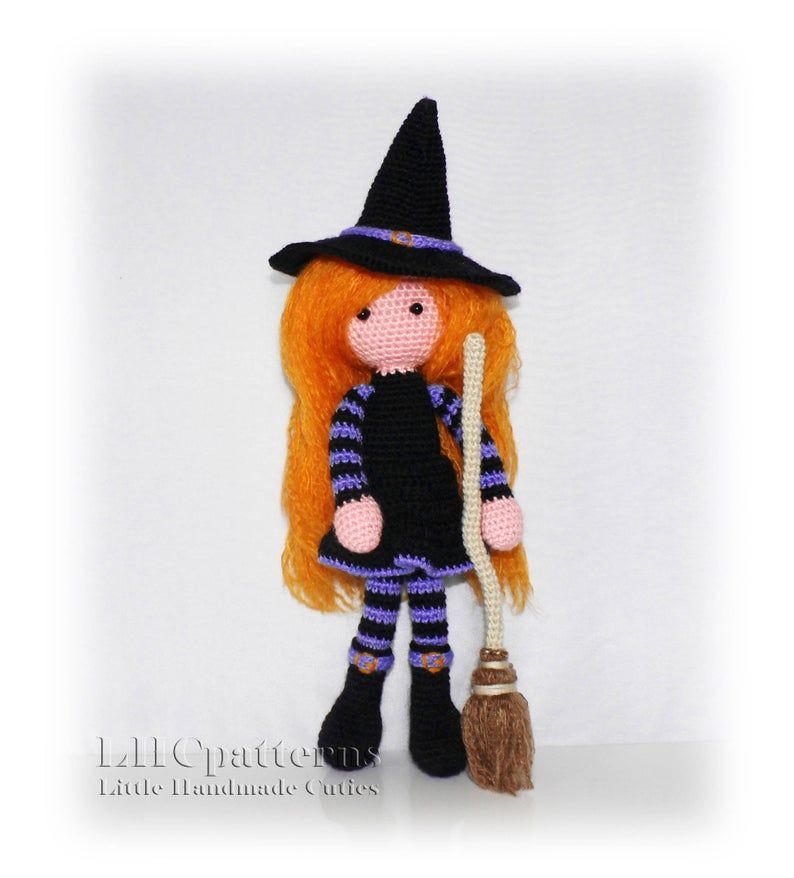 Doll Crochet Pattern, Witch with Broom Crochet Pattern, Crochet Halloween Pattern PDF