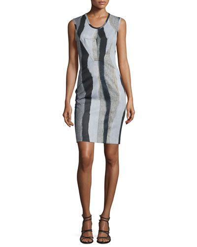 Sleeveless Printed Sheath Dress, Jet/Multi