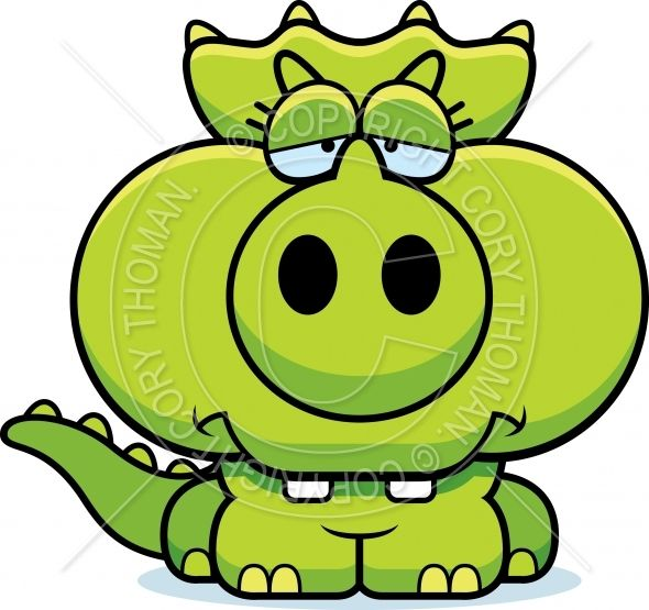 Cartoon Sad Triceratops Vector and Royalty Free License - Cory ...