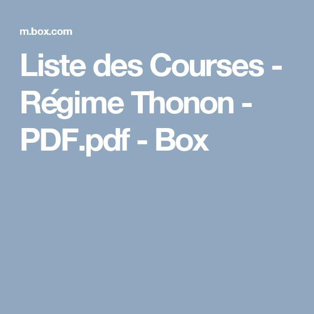 Bien-aimé Liste des Courses - Régime Thonon - PDF.pdf - Box | Bien être  UO69