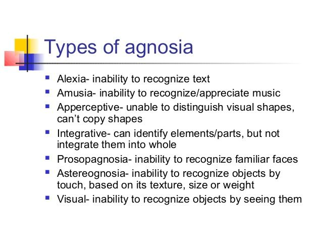 Image result for types agnosia EPPP Pinterest Speech therapy - copy blueprint medicines analyst coverage