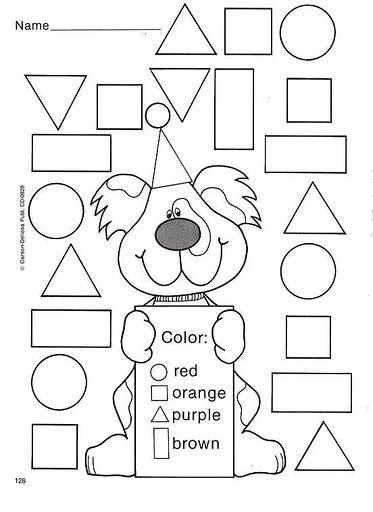 Color by the shape | Pre-k Math | Pinterest | Shapes, Math and School
